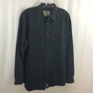 Vintage Levis Black Men's Metal Button Denim Shirt